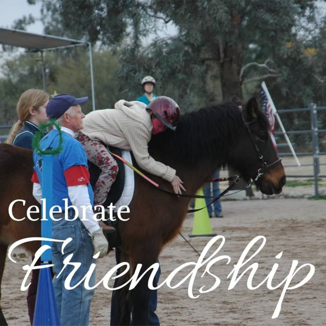"Third child on therapy horse. Text: ""Celecrate Friendship"""