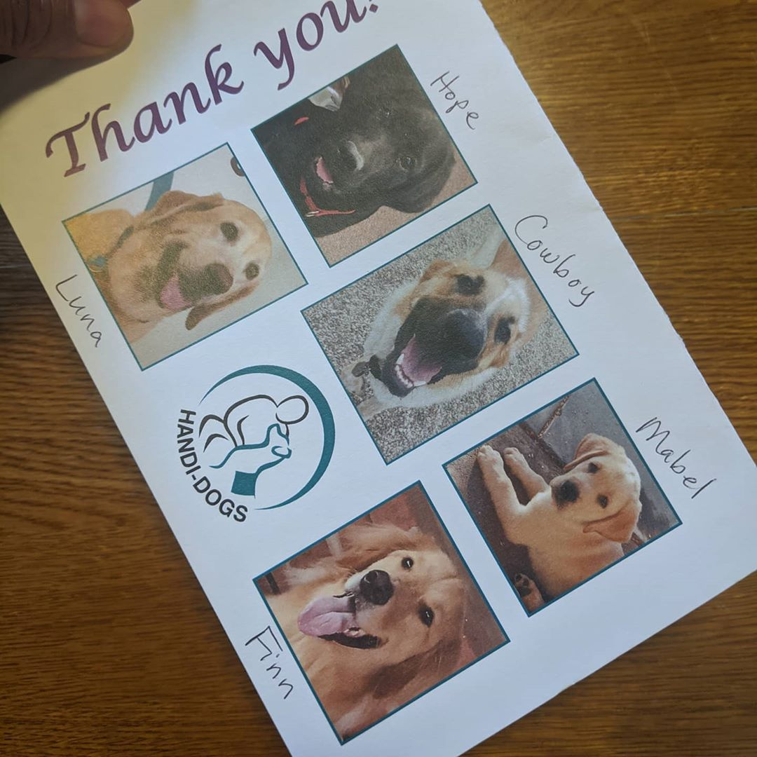 A thank you card from Handi-dogs