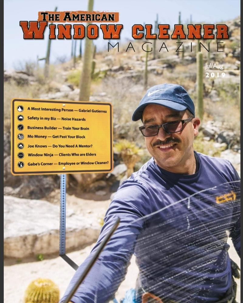 Gabe on cover of The American Window Cleaner Magazine