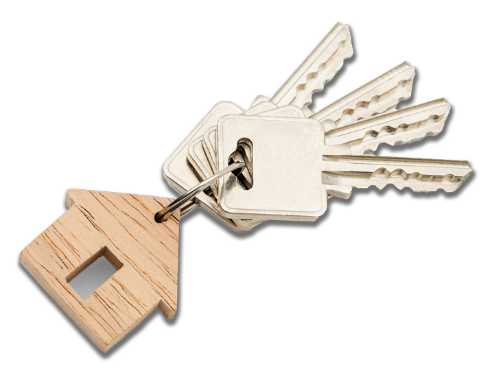 House Keys on a key ring with a wooden keychain in the shape of a house