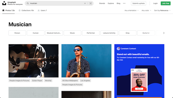 Screenshot of Unsplash musician search result