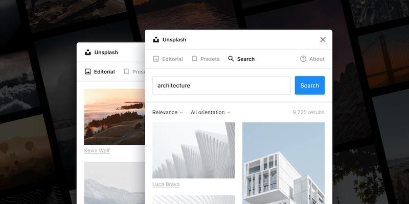 Screenshot of Unsplash plugin