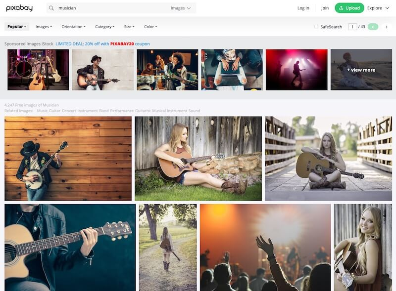 Screenshot of Pixabay search results for musician