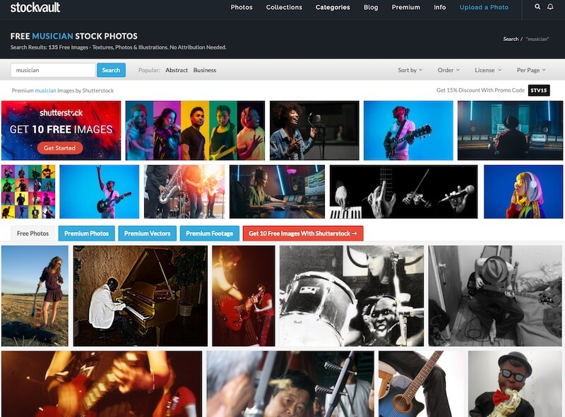 """Screenshot of Stockvault search results for """"musician"""""""