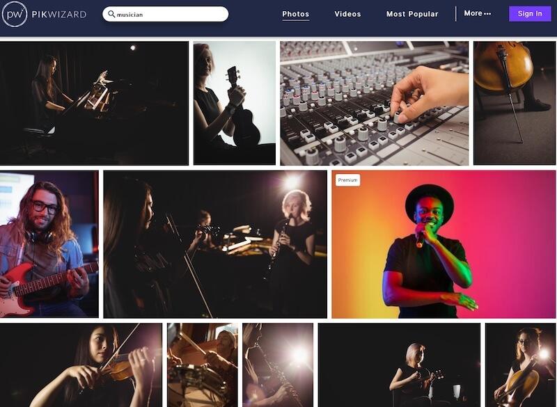 Screenshot of Picwizard musician search results