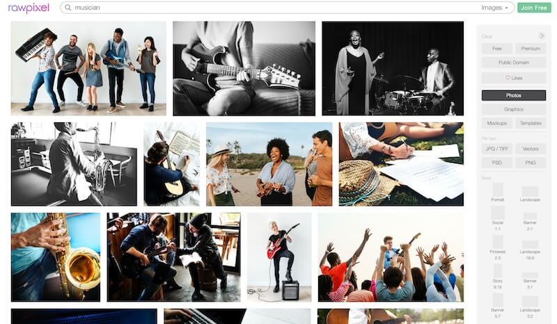 Screenshot of rawpixel musician search results