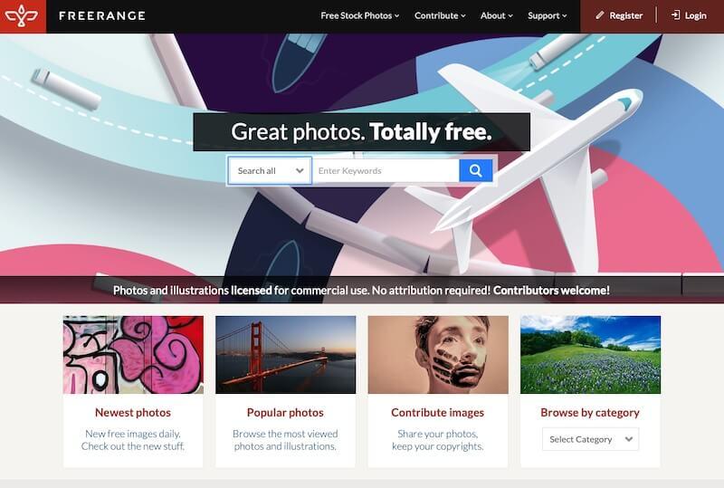 Screenshot of Freerange homepage