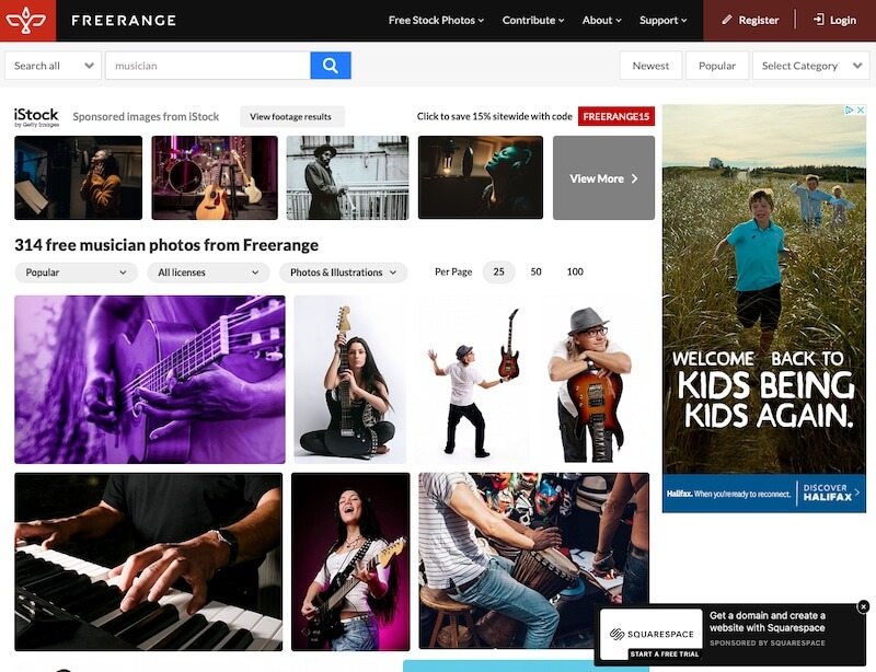 """Screenshot of search results for """"musician"""" on Freerange"""