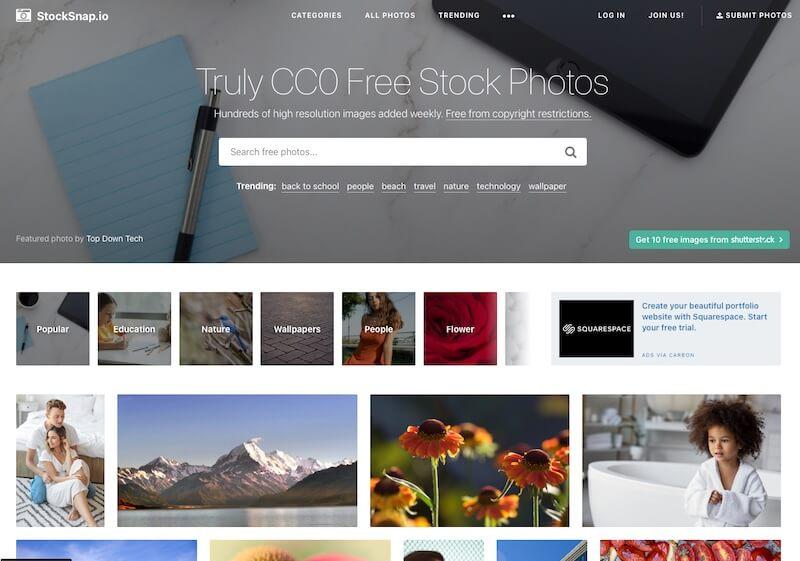 Screenshot of Stocknap homepage