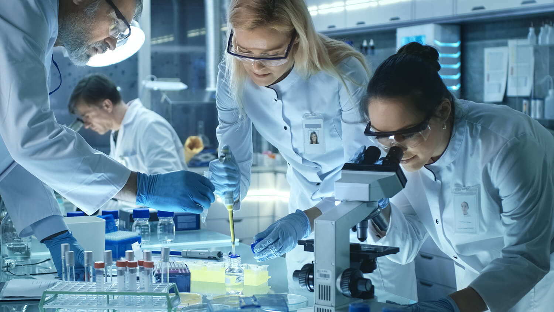 Team of medical innovators working at Umeå biotech incubator (UBI)