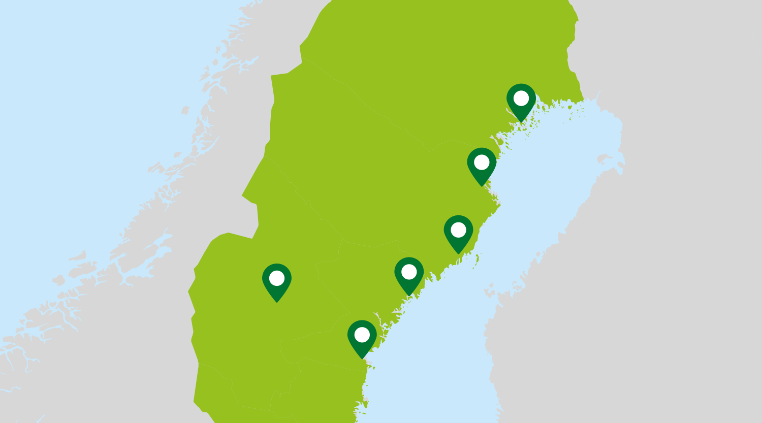 A map of northern Sweden showing where the six biggest cities in the northern part of Sweden are located