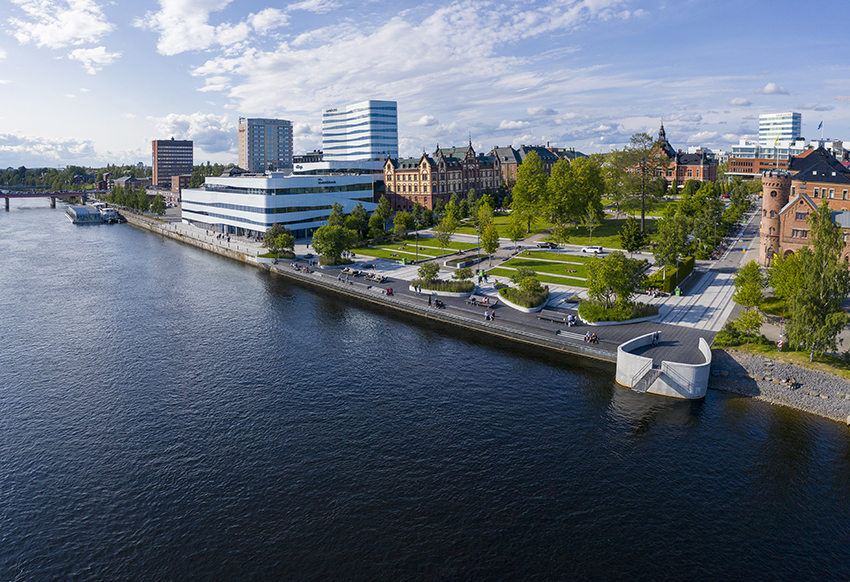 Drone photography of Umeå, Sweden in summer