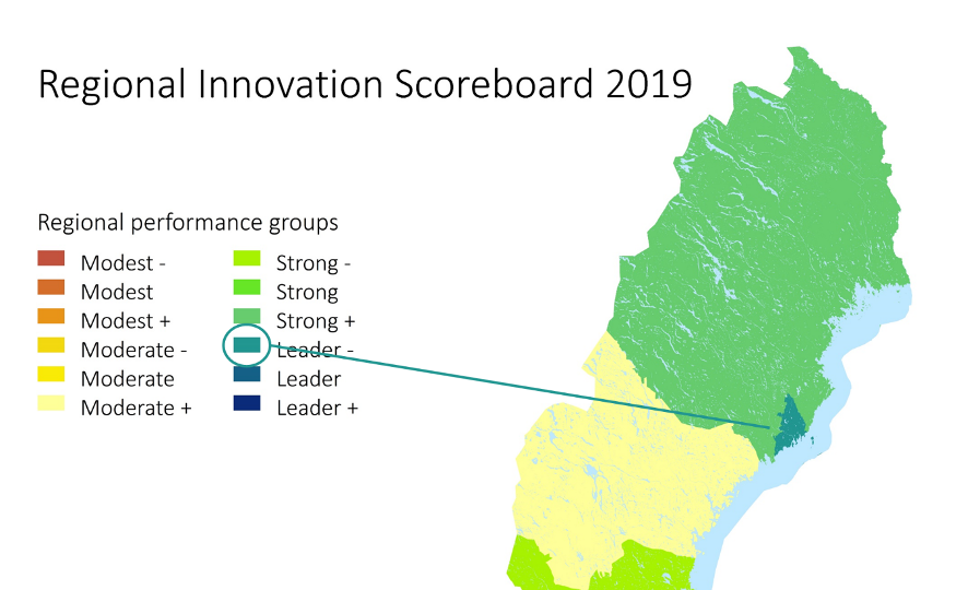 A map of northern Sweden with graphical facts showing that Umeå is a Leader in EU Regional Innovation Scoreboard