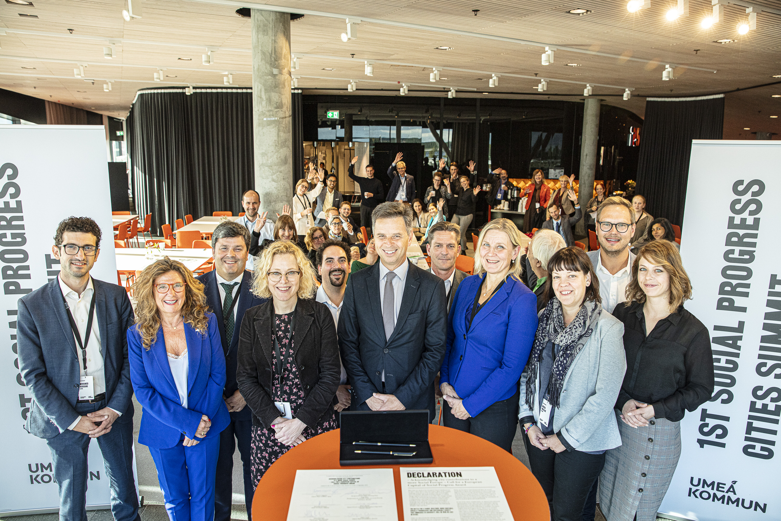 A group of people attending the first Social progress cities summit in Umeå