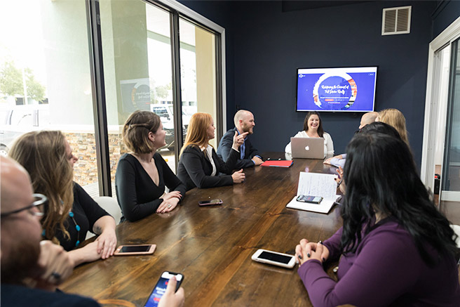Robin Realty having a team-wide meeting