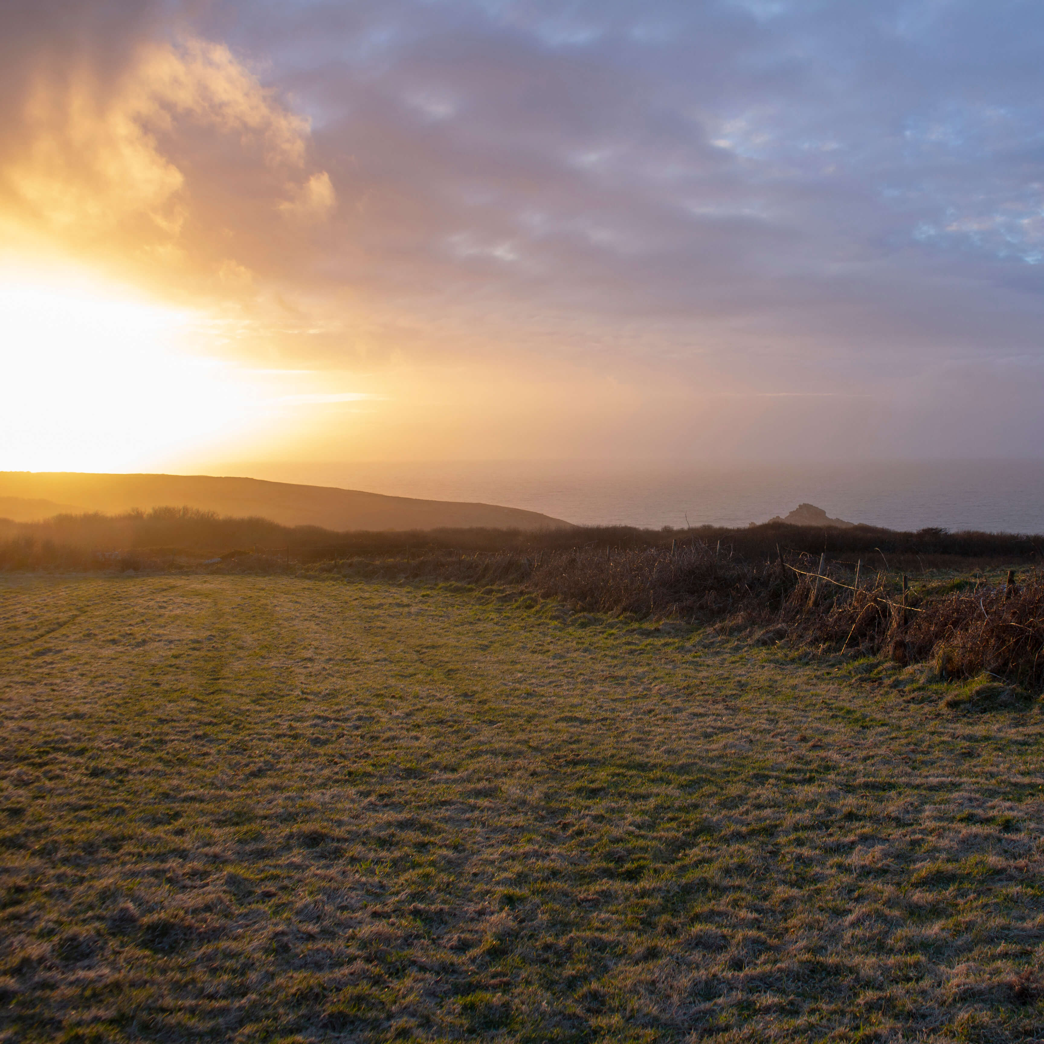 A sunset over a field by the ocean on a rare Cornish frost day.