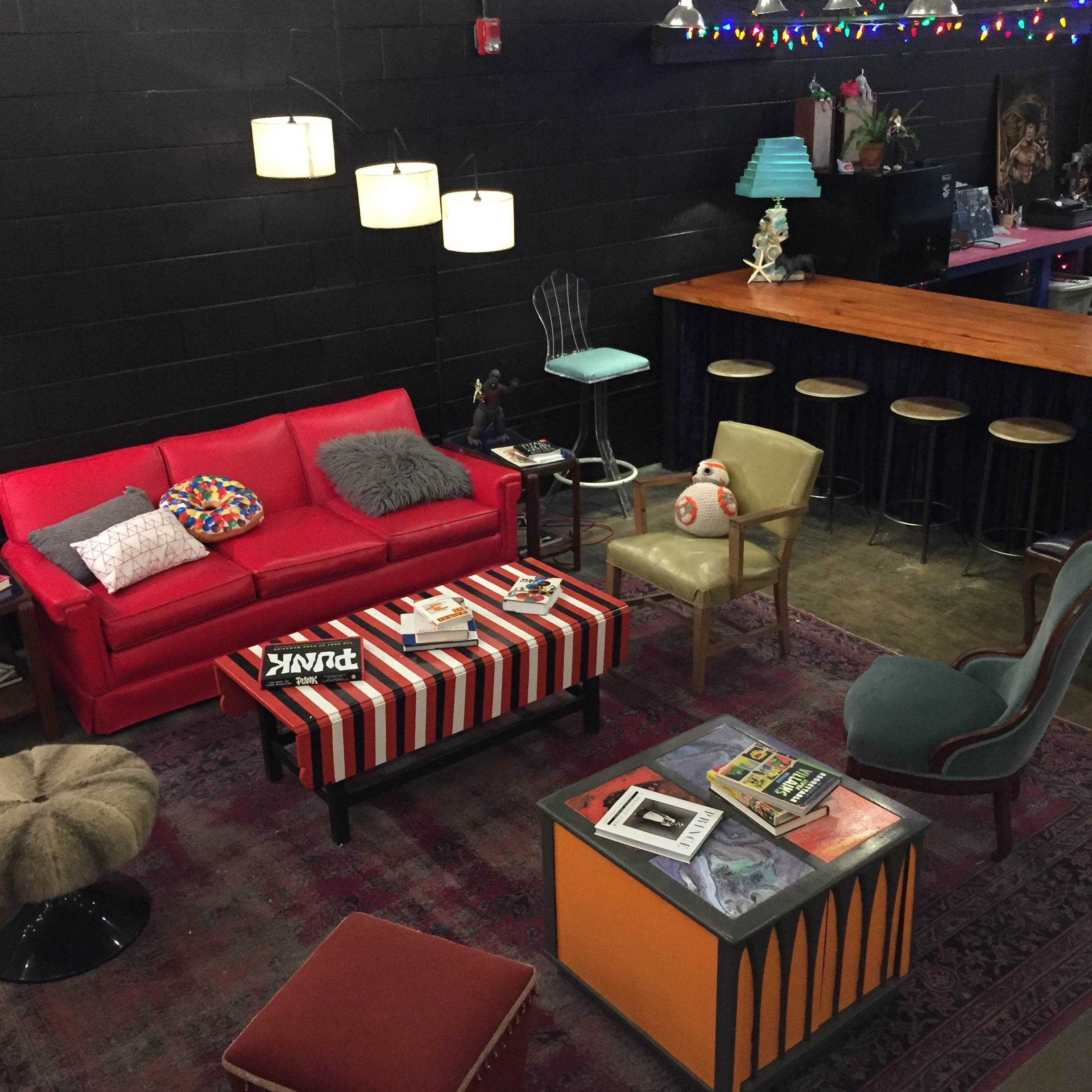 The lounge and bar area is super groovy