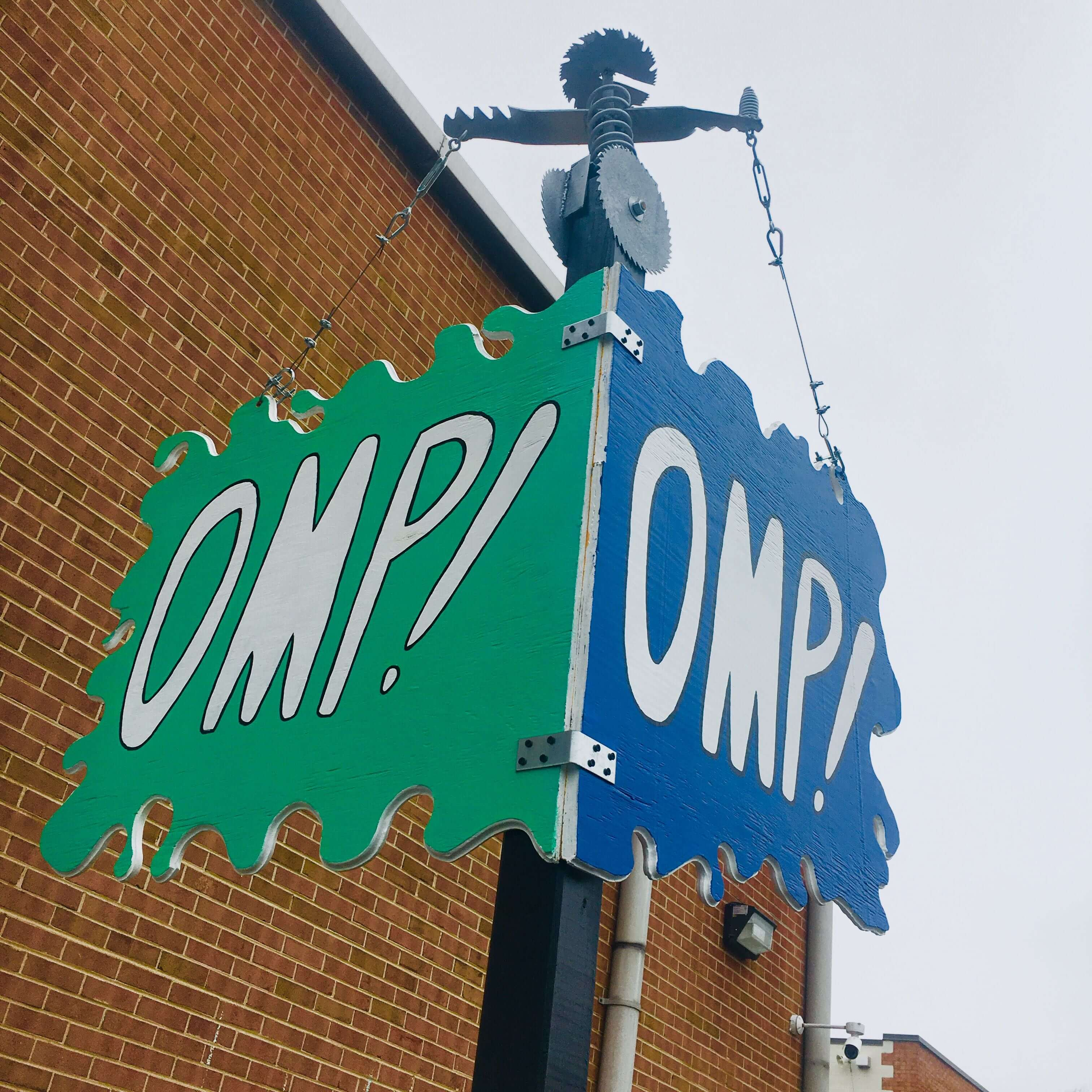 OMP's exterior sign