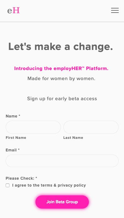 employher website screen shot