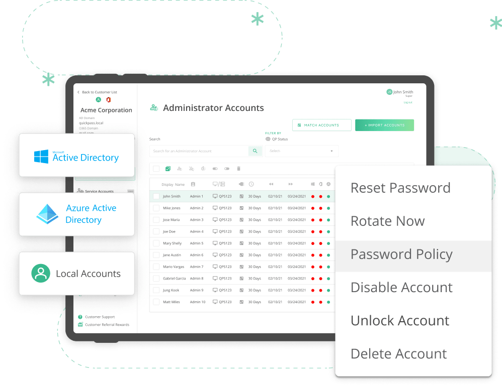Quickpass dashboard and logotypes of AD, Azure and Local Accounts