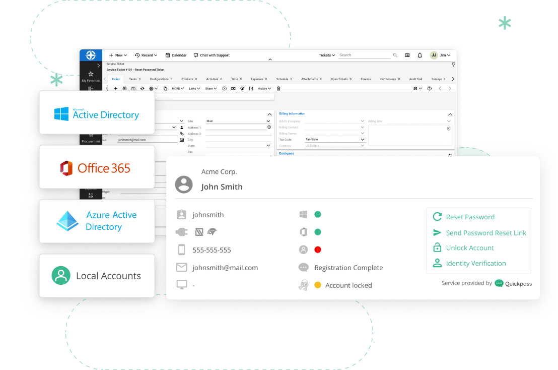 Connectwise interface and quickpass pod with logos of AD, O365, local accounts and Azure