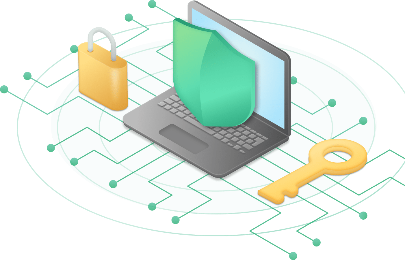 Header image-Shows an illustration of a laptop with a shield over, on the sides have a lock and a key