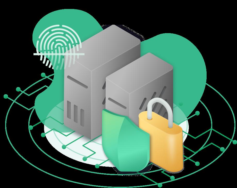 Security-servers locks, biometric authentication, shield, protection