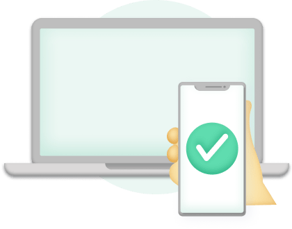 Representation of 2FA Onboarding with a computer and a phone verification