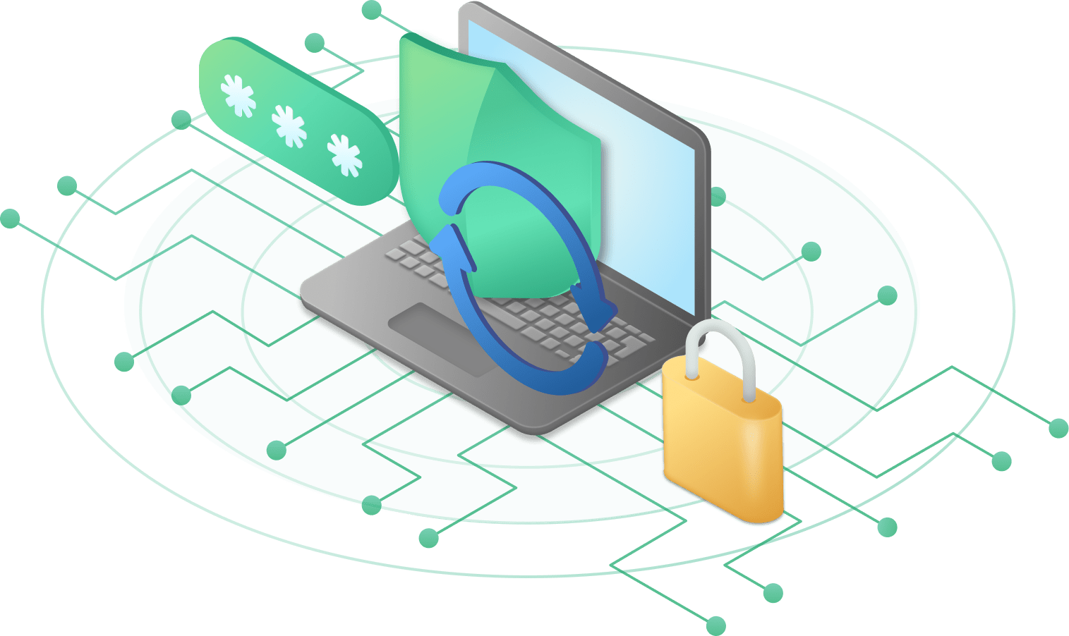 Illustration that represents password rotation, protection and security