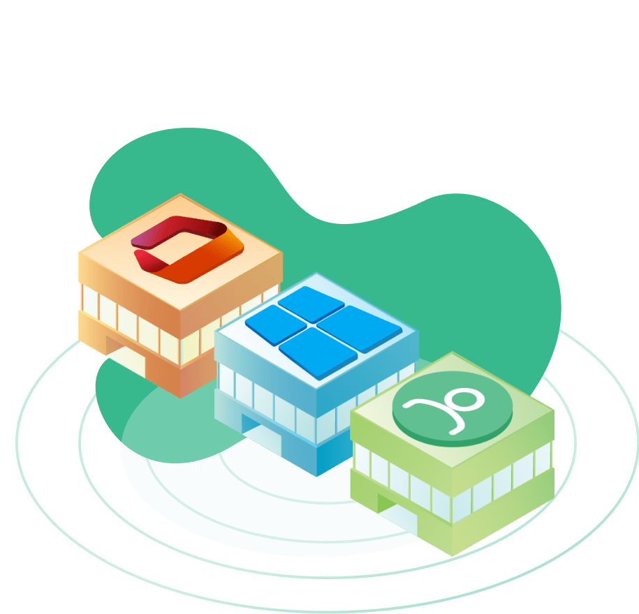 Illustration of buildings representing the integration with O365, AD and Local Accounts