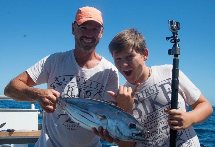 Catching skipjack in the Hauraki Gulf