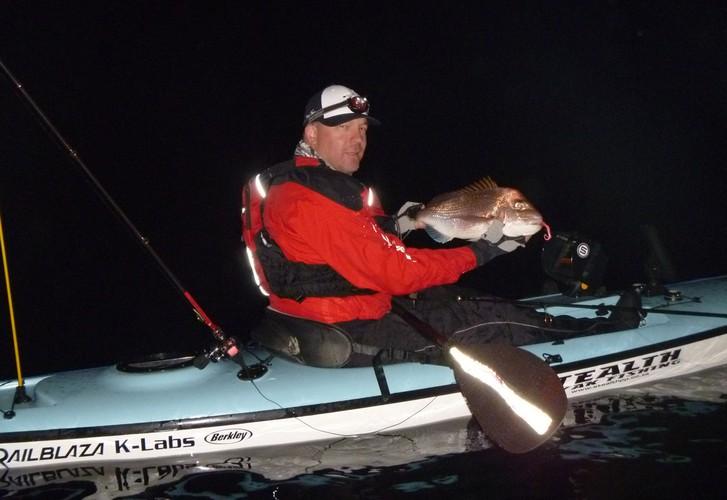 Kayak fishing in the dark