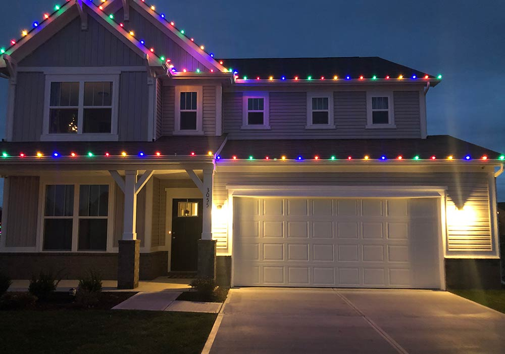 Christmas light installation in Indianapolis by Pressure Doctor Inc