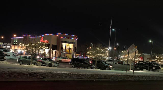 Chick-Fil-A Christmas light installation by Pressure Doctor Inc.