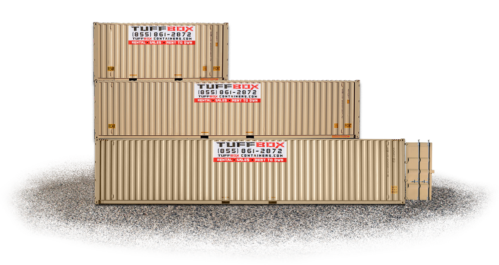 Stack of 20 40 and 45 foot shipping containers