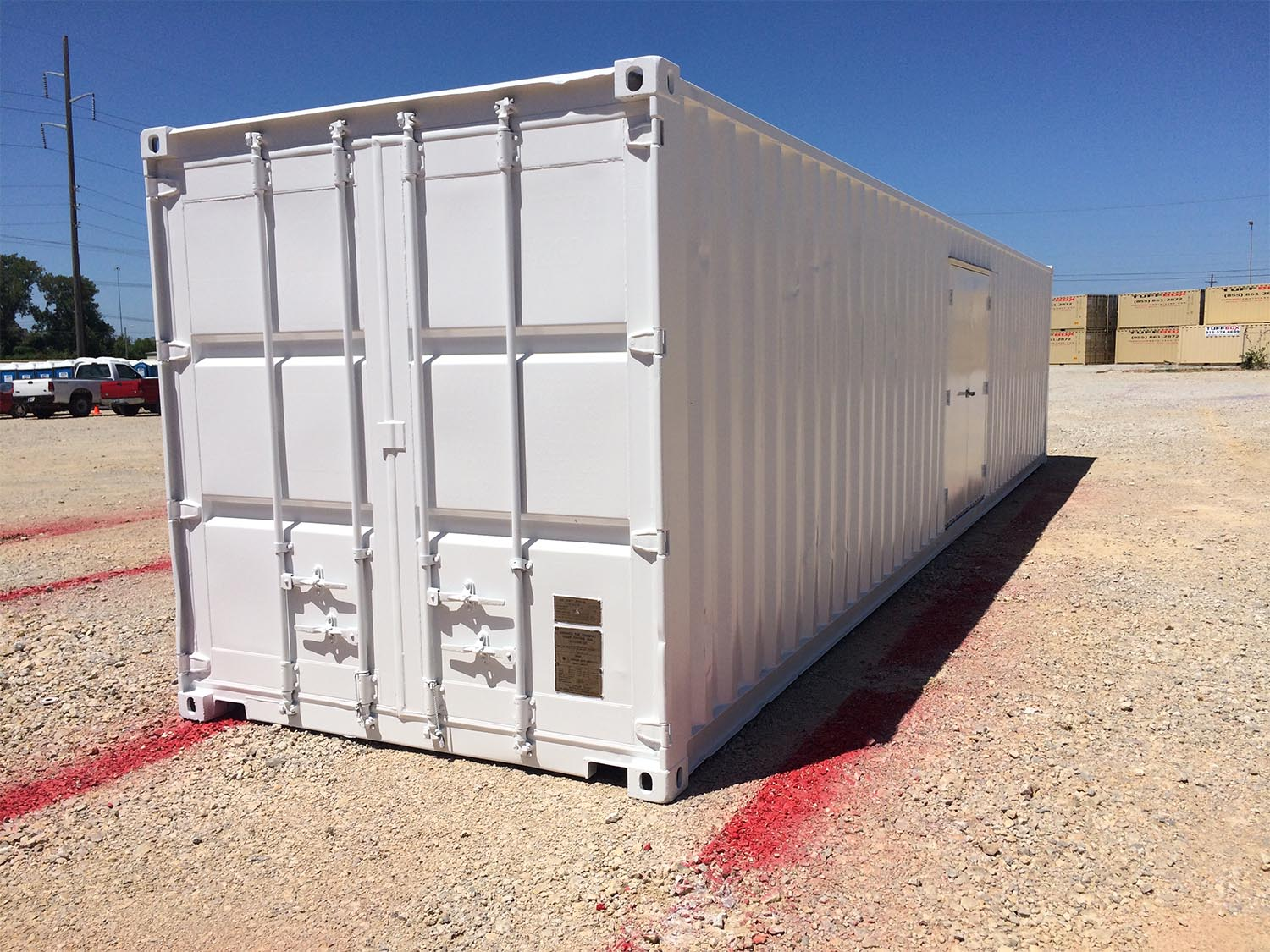 Shipping container painted white