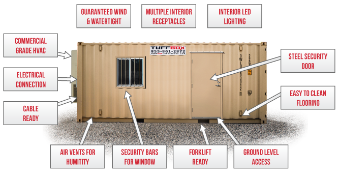20-foot office container diagram