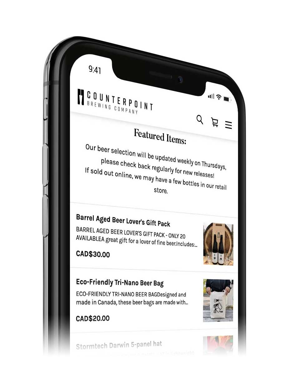 Image of a mobile phone displaying Counterpoint's online store.