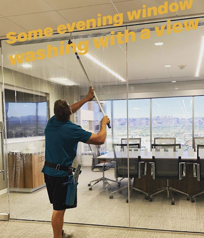 window cleaning process photo