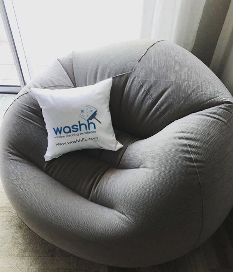 washh logo on pillow
