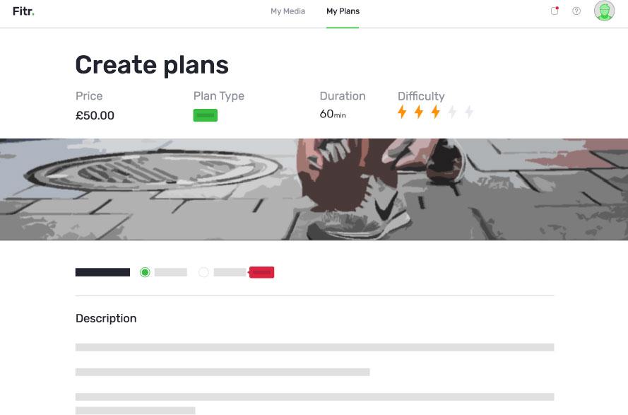 Fitr Plan builder screen shot