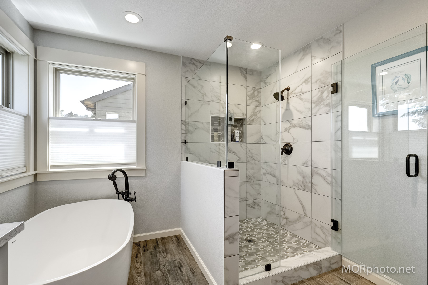 custom walk in shower faux marble