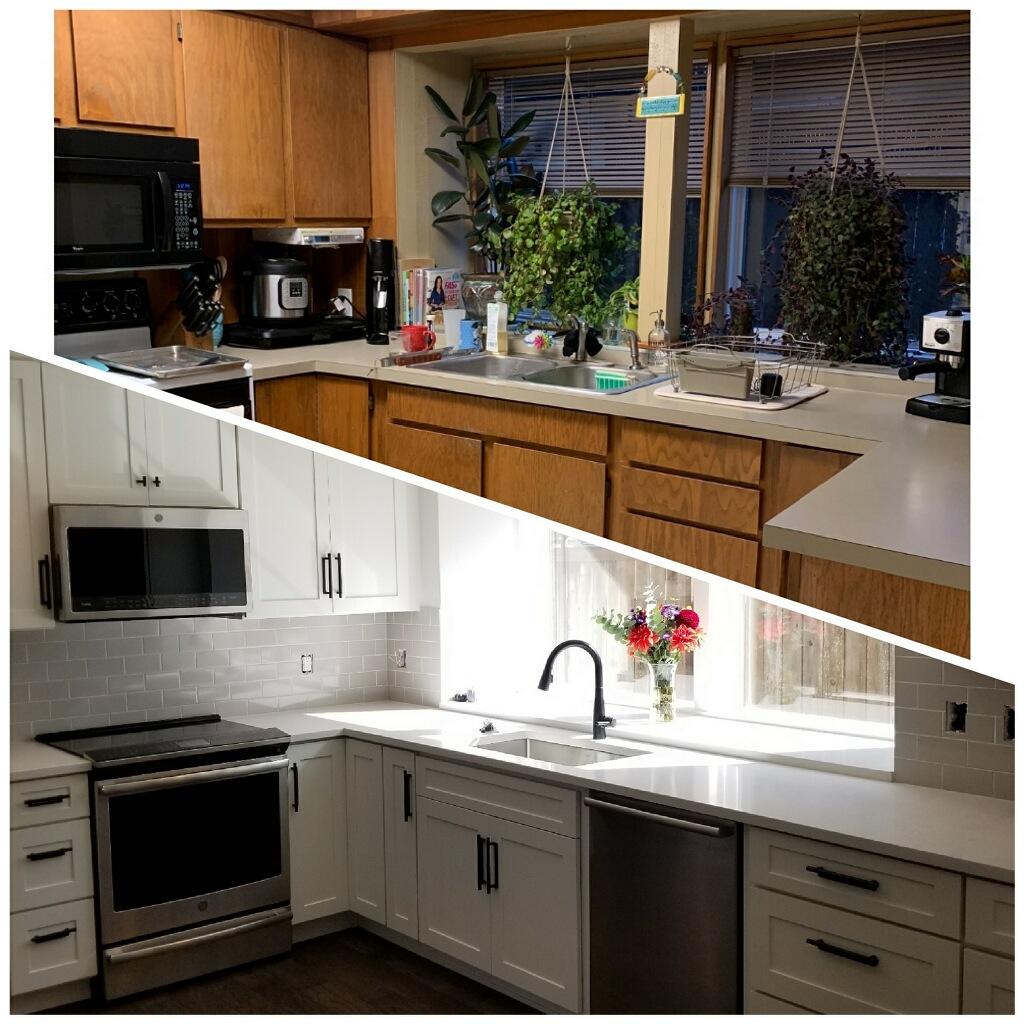 Before & after kitchen remodel SE Portland