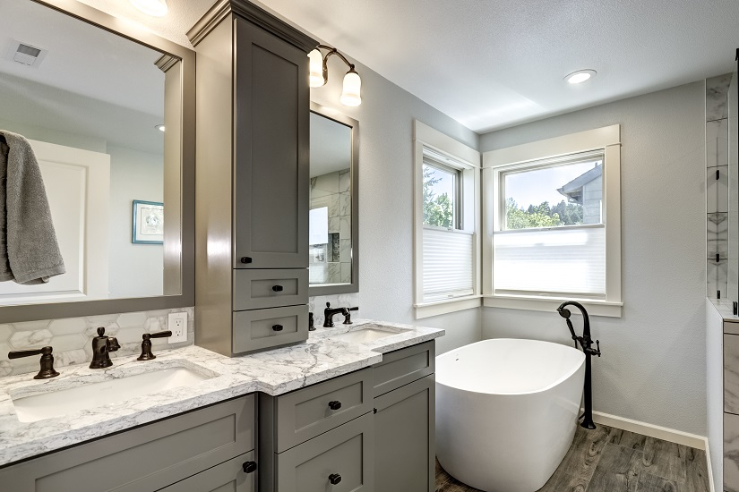 bathroom remodel after soaking tub custom cabinets gray