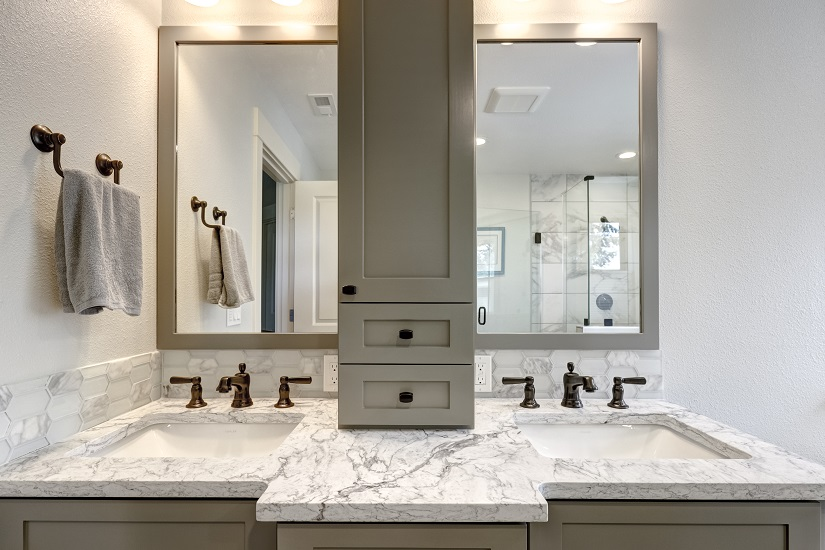 custom bathroom remodel gray cabinets marble