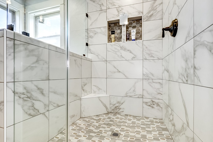 custom walk-in shower faux marble tile