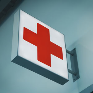 emergency red cross sign
