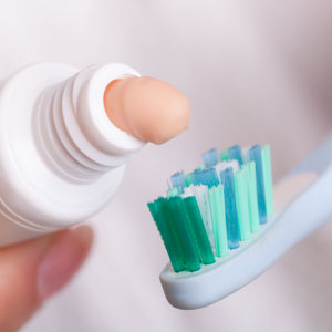 whitening toothpaste on toothbrush