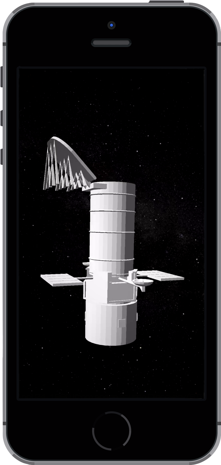 iPhone with the Hubble Space Telescope loaded