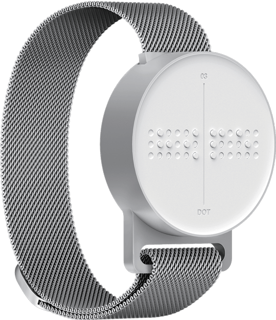 A Dot Watch rotated to the right, showing the smooth empty surface.